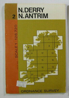 1974 Old Vintage OS Ordnance Survey of Ireland Half-inch Map 2 N Derry N Antrim