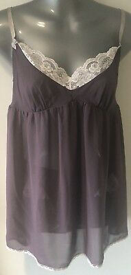 Victoria's Secret Aubergine & Ivory Lace Trim Sheer Chemise & Knickers Set Small