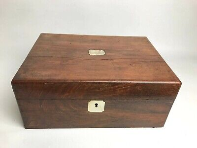 Antique Victorian Jewelry Box/Trinket Case Mahogany Wood Mother Pearl Escutcheon