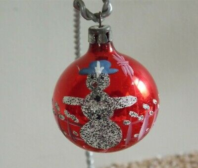"Vtg Xmas Poland SNOWMAN Hand Paint Mica Mercury Glass Ornament 1 3/4"" ESTATE"