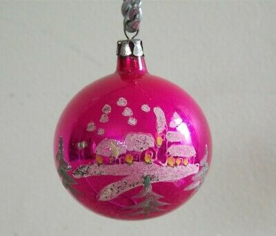 "Vtg Xmas Poland SNOW SCENE Hand Paint Mica PINK Mercury Glass Ornament 2"" ESTATE"