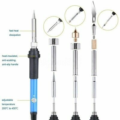 60W Wood Burning Pen Soldering Tool Crafts Tools Set Pyrography Kit Tip Blue UK