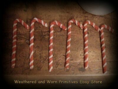 """Primitive Grungy Red & Cream Striped Chenille Candy Canes 7"""" T - Set of 6"""