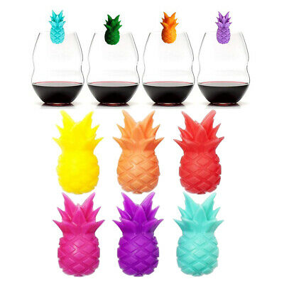 6pcs Silicone Wine Glass Marker Pineapple Cup Marker Charms for Banquet