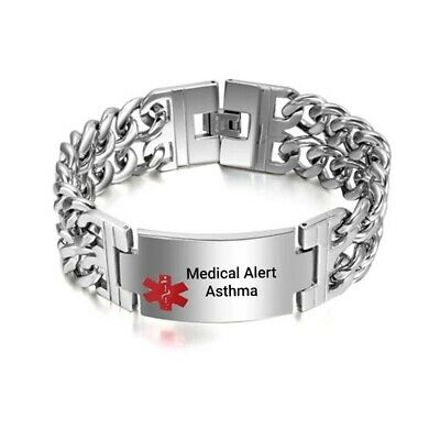Asthma Asthmatic Pacemaker Alert Bracelet Stainless Steel Chain Curb Silver Tone