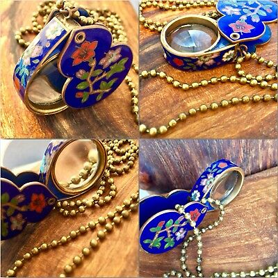 Vintage China Chinese Cloisonne Loupe  Lupe Magnifying Glass very rare Brass