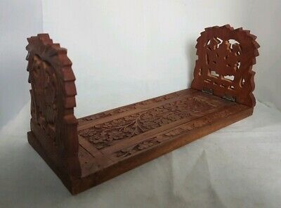 Beautifully Carved Vintage Wooden Extendable Bookends (Length - 51 cm)