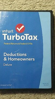 Intuit TurboTax 2014 Deluxe Federal Deduction & Homeowners NEVER USED