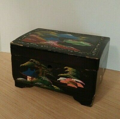 Antique Asian Jewelry Box black wooden hand painted inlaid shell no music