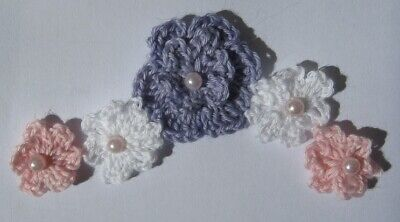 String Of Beautiful Crochet Flowers, Colours As Shown -  Free Postage.