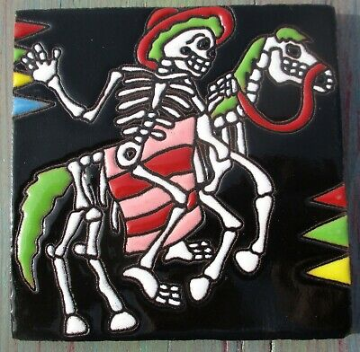 """1 Talavera Tile 4"""" Day of the Dead Cowboy Rodeo sombrero hat horse blanket MAN"""