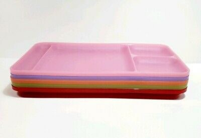 5 vtg Tupperware rainbow Divided Picnic Lunch camp Snack Trays Pink purple red