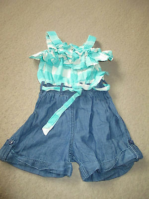 270 NEXT playsuit denim shorts and checked upper size 3 years