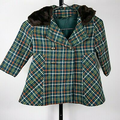 "Vintage 4T Girls Gastwirth Plaid Wool Lined Coat Jacket w/ Plush Hood 30"" Chest"