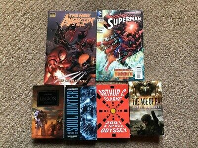 Sci-Fi Book Collection (2001 A Space Odyssey, Warhammer 40k, Marvel, Superman).