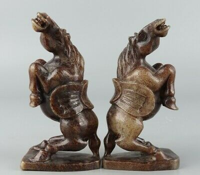 Chinese Exquisite Hand-carved Hetian jade horse statue a pair