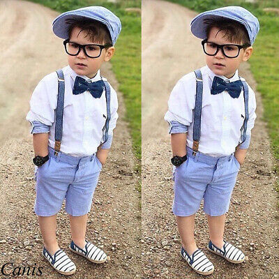 AU Baby Clothes Kid Boy Formal Party Suit Tops+Bib Pants Gentleman Outfit Summer