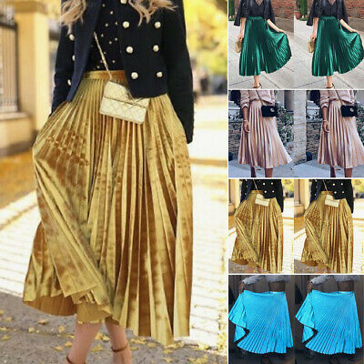 AU Fashion Women High Waist Elastic Waist Long Maxi Casual Pleated Skirt Dress