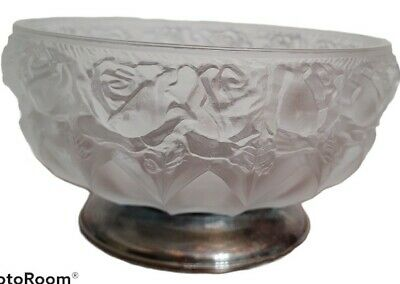 William Adams Lead Crystal Frosted Rose Silver Plate Pedestal Bowl