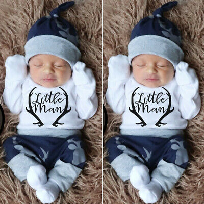 AU Newborn Baby Boy Clothes Little Man Romper+Deer Leggings Pants+Hat Outfit Set