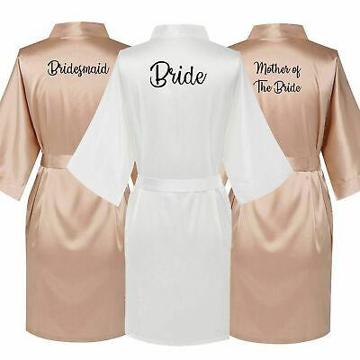 Champagne Bride Wedding Satin Robe Maid of Honour Bridesmaid Bridal Party Gown