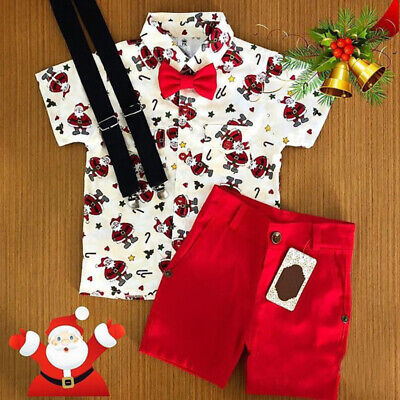 AU Christmas Toddler Kids Baby Boy Clothes Xmas Santa Tops T-Shirt Shorts Outfit