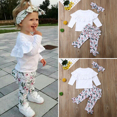 AU 3Pcs Toddler Kids Baby Girl Winter Clothes Ruffle Tops Long Pants Outfits Set