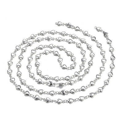 10.9yds 304 Stainless Steel Heart Link Chains Solid Cables Strings Loop 5mm WID