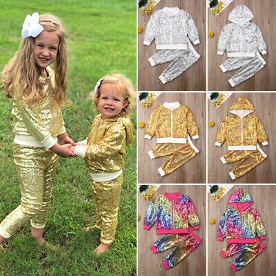 AU Girls Kids Winter Outfits Sequin Zipper Pullover Tops Pants Clothes Tracksuit