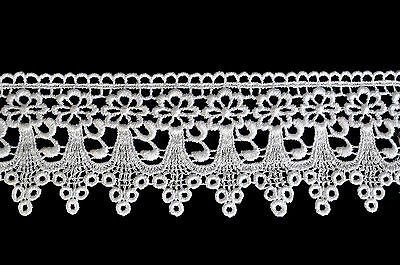 """Lily 3"""" White or Ivory Floral Scalloped Guipure Venice Lace Trim Craft by Yard"""