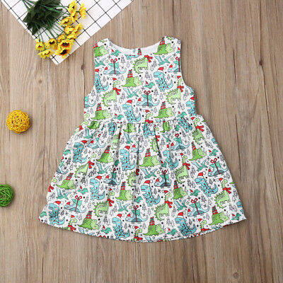 AU Christmas Toddler Kid Baby Girl Clothes Sleeveless Dinosaur Tutu Dress Outfit