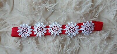 Babies/girls  red Headband with matching flowers