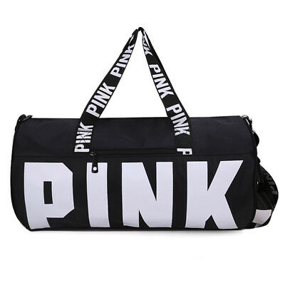 Victoria's PINK Grey Canvas Duffle Bag Yoga Holiday Gym Travel Weekend