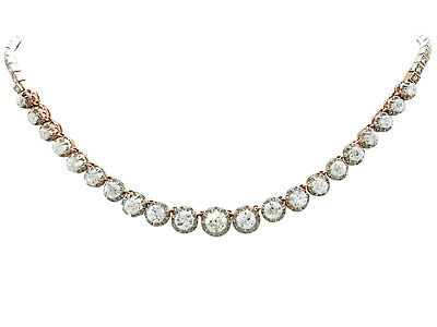 Antique French 11.12ct Diamond 18Carat Yellow Gold Platinum Set Necklace