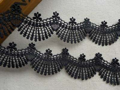 Black Venise Lace Trim with Scalloped Edge for Bridal Dolls Wedding gowns Design