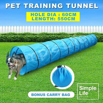 5.5M Long Waterproof Pet Dog Agility Training Exercise Tunnel Chute & Carry Bag