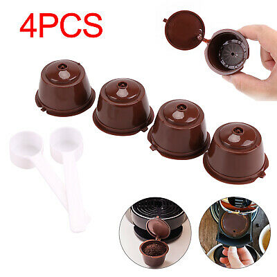 4X Reusable Coffee Capsules Refillable Cup Pod Filter For Dolce Gusto + Spoon