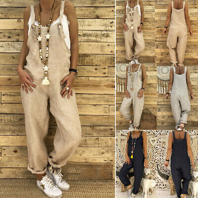 AU Women Girl Casual Playsuit Overalls Wide Leggings Haren Pants Romper Jumpsuit