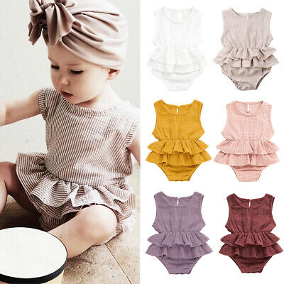 AU Newborn Infant Baby Girl Clothes Sleeveless Romper Dress Cotton&Linen Outfit