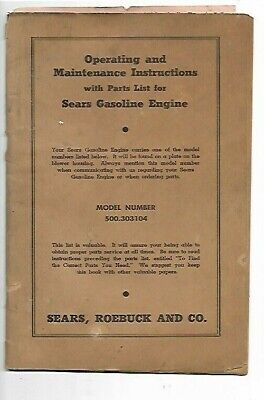 f1- Sears Gasoline Engines Operating Maintenance Instruction Manual 500 Series