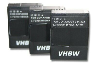 3x Battery 1180mAh for Gopro Hero 3+ Plus Silver Edition