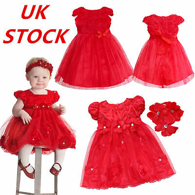 UK Baby Girl Xmas Flower Petals Dress Birthday Wedding Pageant Party Tutu Dress