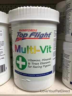 Multi vitamins for Racing Pigeons MultiVit by Top Flight 90g and 500g  BMFD