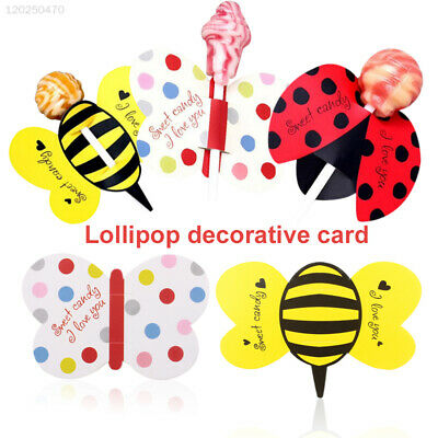 8073 Gifts Lollipop Decoration Paper Popular 50Pcs Multicolor Ladybug Decor Bees