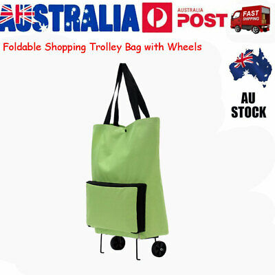 Foldable Shopping Cart Trolley Bag with Wheels Grocery Tote Collapsible Handbag