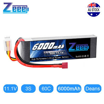 6000mAh 60C 11.1V 3S Deans Plug LiPo Battery XT60 for RC Truck Helicopter Car