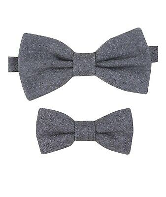 Mens Kids Boys Matching Herringbone Tweed Dickie Bow Tie in Grey