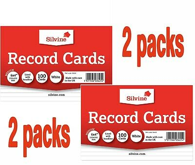 "2 X SILVINE Record Cards 6"" x 4"" lined with headline FLASH CARDS Revision"