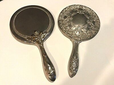 TWO Vintage Hand Held MIRRORS-HEAVY SILVER PLATED-ORNATE & RIBBON DESIGN
