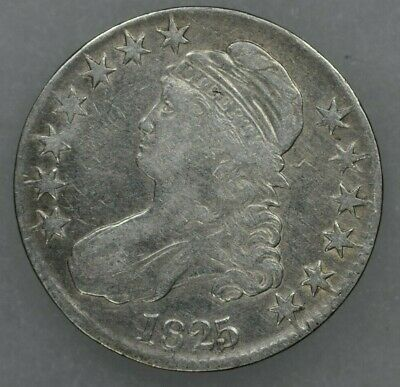 1825 50c Capped Bust Half Dollar Very Fine Details Cleaned-VF Details